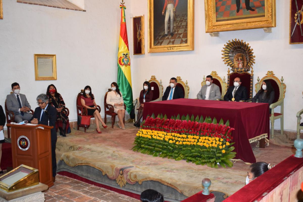 Magistrados del TCP en la apertura del año constitucional en enero, junto al procurador Chávez / TCP