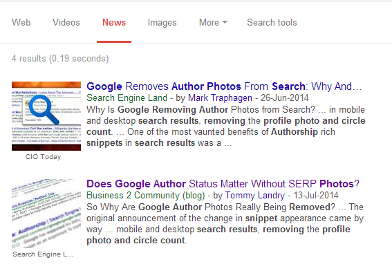 Google News results in Google