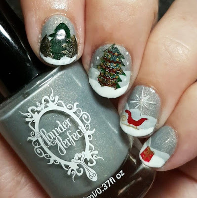 cindersoot, grey, gold shimmer, winter, holiday, indie polish