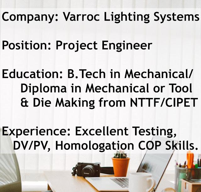 (Job) - Varroc Lighting Systems, Pune | Project Engineer-Test Lab
