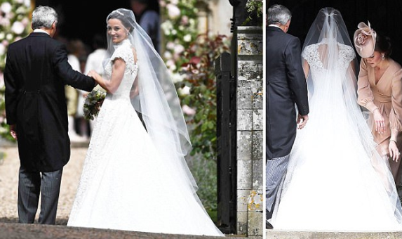 (Photos) Here comes the bride! Pippa Middleton arrives at the Church for her wedding to James Matthews