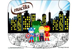 Etiqueta Nucita de Los Vengadores Chibi para imprimir gratis.