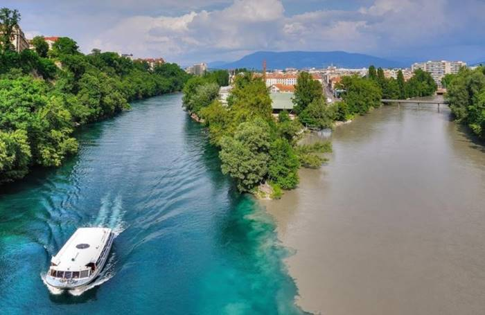 The confluence of the Rhone and Arv rivers in Geneva (Switzerland)