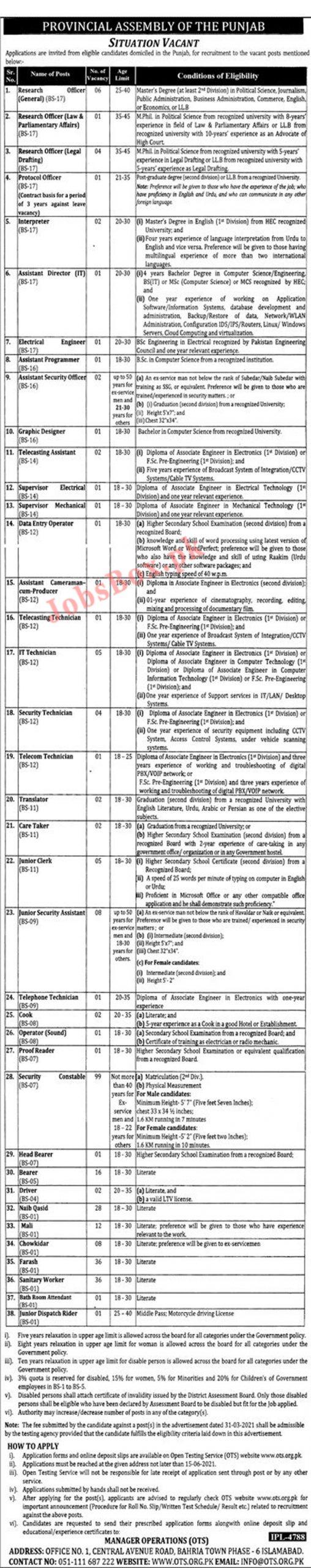 PA Jobs In Pakistan 2021 - Pakistan Punjab Assembly Jobs - BPS-01 to BPS-17 via OTS