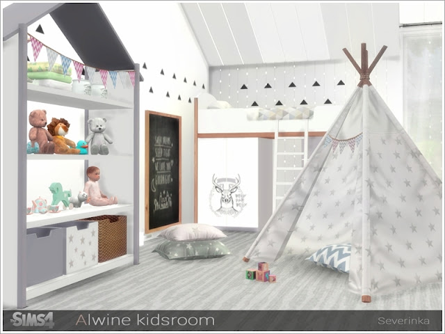 Симс 4, для The Sims 4, The Sims 4, моды для Sims 4, предметы для Sims 4, Severinka_, Sims 4, мебель, декор, детская комната, детская кровать, детская мебель, декор для детской, комната для ребенка, скандинавский стиль, детская в скандинавском стиле,