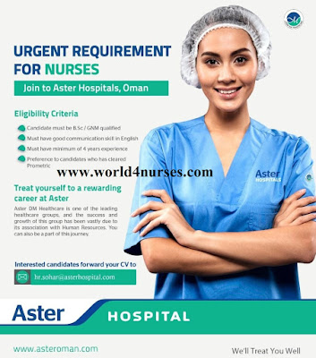 Urgent Requirement For Nurses to Aster Hospitals Oman