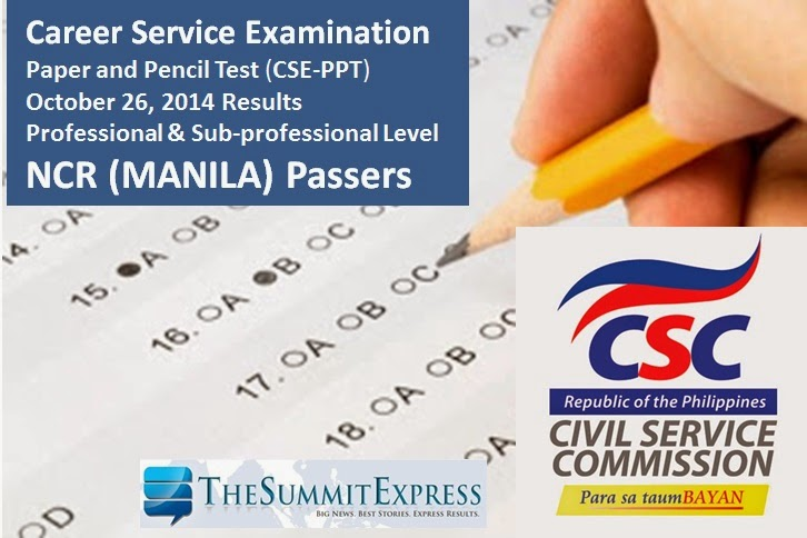 October 2014 Civil service exam (CSE-PPT) results Manila (NCR) Passers List