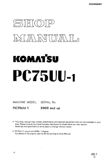 Komatsu PC75UU-1 excavator shop manual download