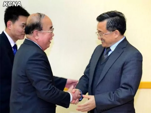 DPRK FM Pak Ui Chun and China Vice-FM Liu Zhenmin (R), Mansudae Assembly Hall, February 19, 2014