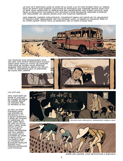 """page de """"Tian An Man 1989 Nos vies Brisées"""" par Lu Zhang, Ameziane et Adrien Gombeaud chez Delcourt Seuil"""