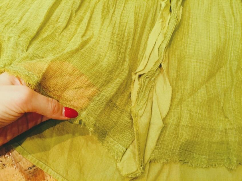pas de calais【パドカレ】CHECKオーガンジー植物染めブラウス