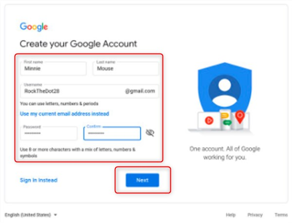 Setting up a new Google Account