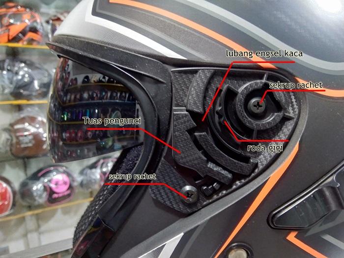 bentuk dan komponen rachet helm