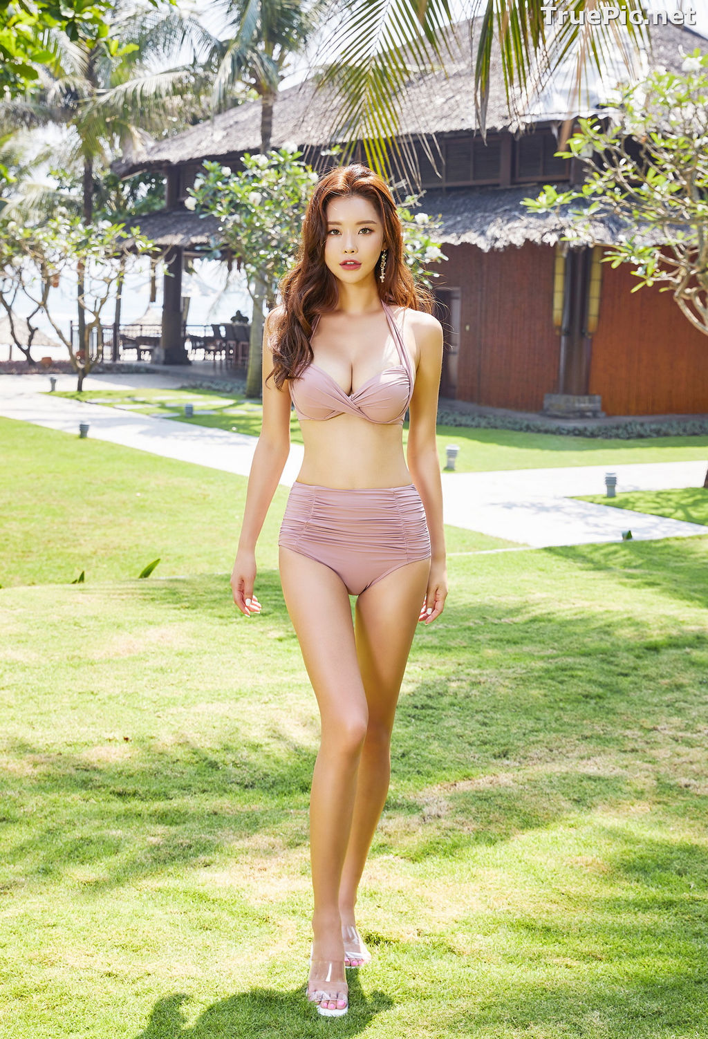 Image Park Da Hyun - Korean Fashion Model - Rose Mellow Pale Pink Bikini - TruePic.net - Picture-6