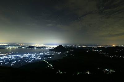 foto citylight lampu kota di gunung lembu