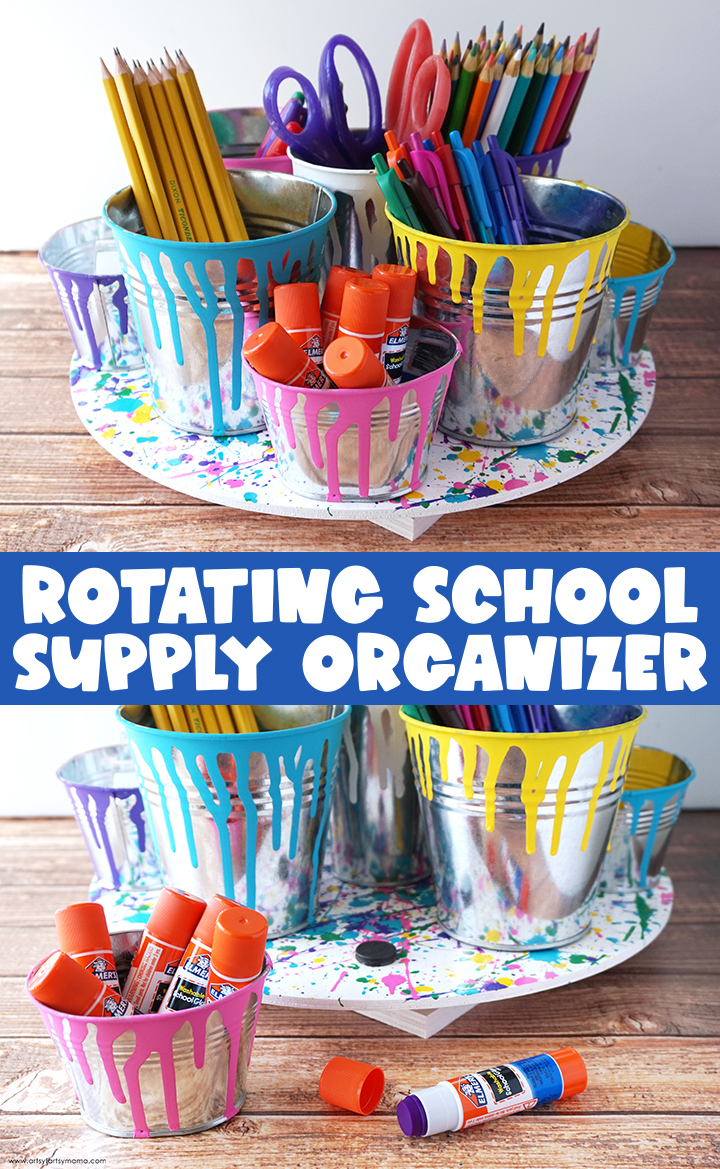 DIY Rotating School Supply Organizer
