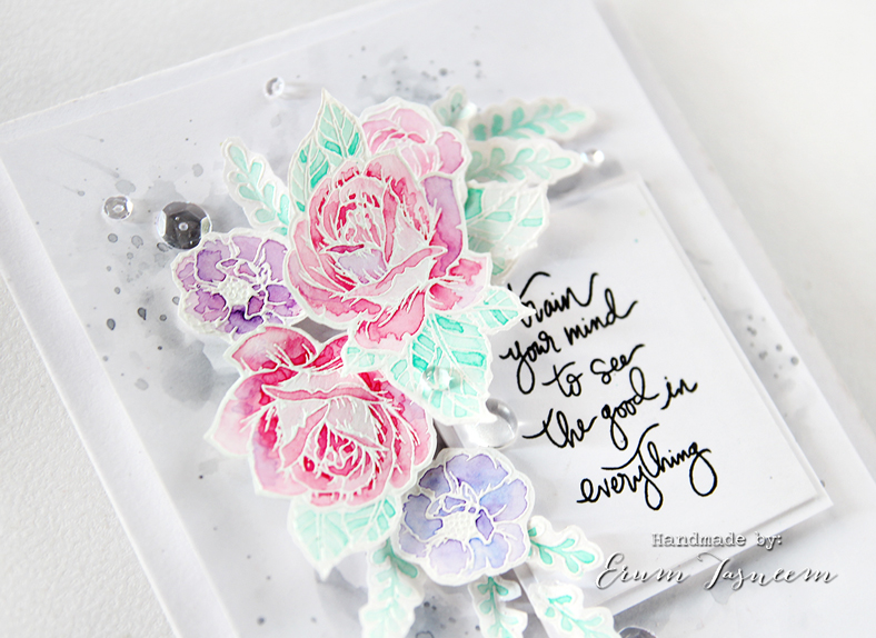 Spellbinders Moon Flower Cool Vibes Card watercoloured with Gansai Tambi | Erum Tasneem | @pr0digy0
