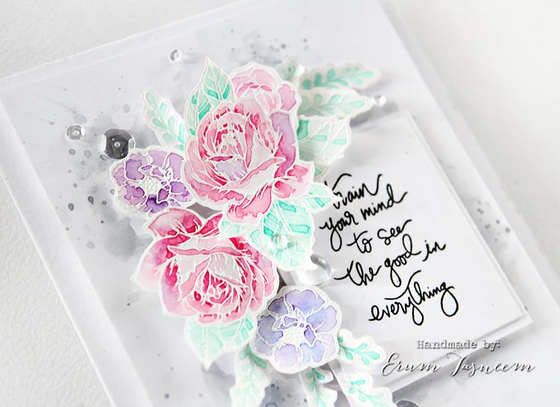 Spellbinders Moon Flower Cool Vibes Card watercoloured with Gansai Tambi | Erum Tasneem | @pr0digy0