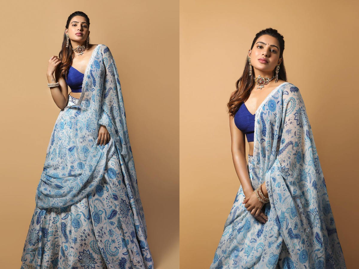 Beauty Looks: Samantha Akkineni is Diwali ready exudes elegance in a blue floral lehenga