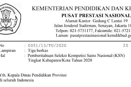 Jadwal Terbaru KSK SMA 2020 Bulan Maret (OSN Kota)