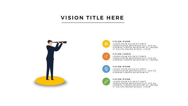 Free Infographic Vision Section with Man and Telescope For PowerPoint Presentation