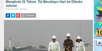 Tol Mangkrak Dibuka, Investor Bertekuk Lutut, Keadilan Sosial Terwujud, Lawan Politik Jokowi Kejang-kejang