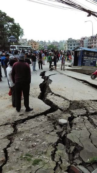 Road Cracked - 7.5 m Earthquake Nepal 25th April 2015