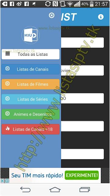 IPTVLIST - Apk - Aplicativo com as melhores listas disponíveis para você direto no seu Android.