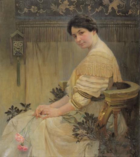 Альфонс Муха - Портрет жены художника Марушки. 1917