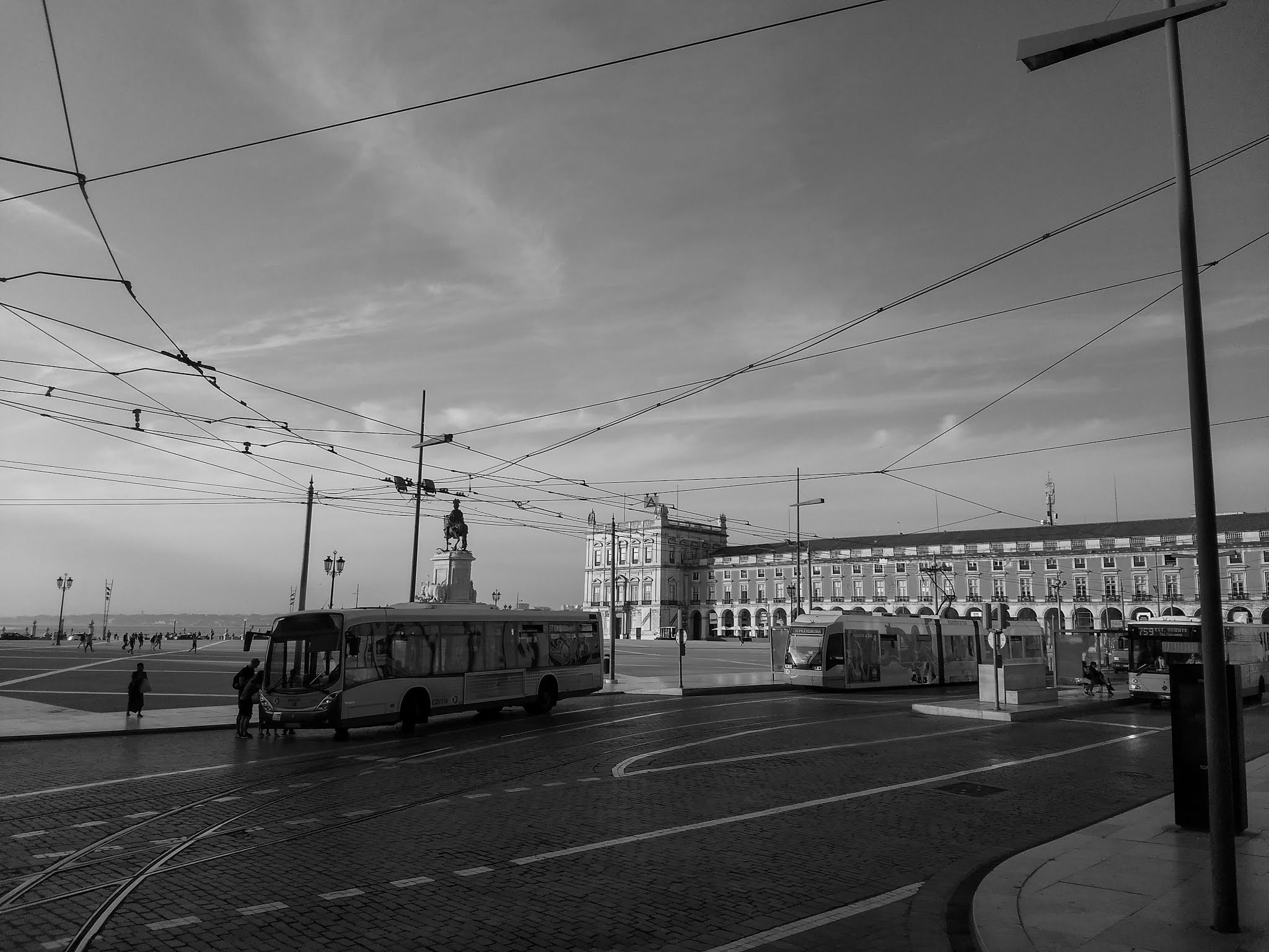 A black and white photo of the tram in Lisbon, Portugal.