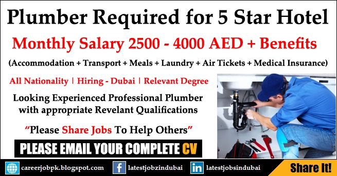 Plumber Jobs in Dubai - 5 Star Hotel Vacancy