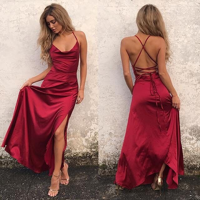 Sexy Red Sleeveless Front Split Long Backless Prom Dress