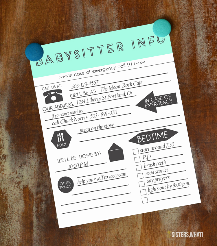 Taking Care of Baby and Babysitting Info with Printable Sheets - babysitting information sheets
