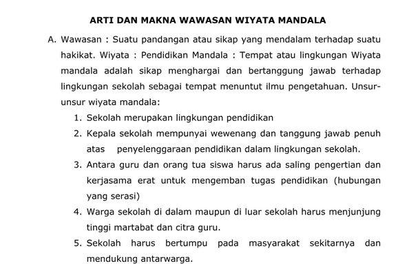 Arti dan Makna Wawasan Wiyata Mandala