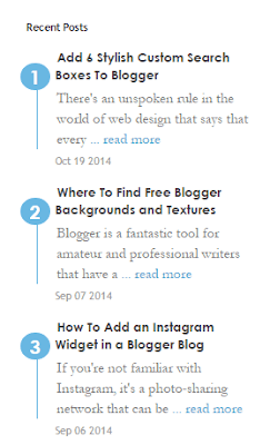 Simple Recent Posts Widget with Numbers For Blogspot