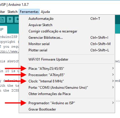 IDE Arduino - Configurações ATtiny85