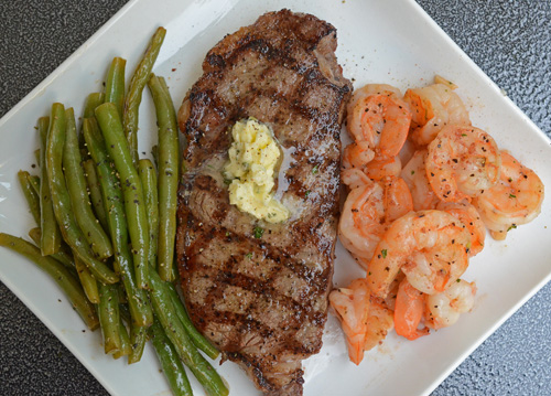 Grilled NY Strip Steak with Shrimp featuring Certified Angus Beef Brand from Food City