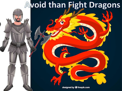 Picture shows warrior and dragon