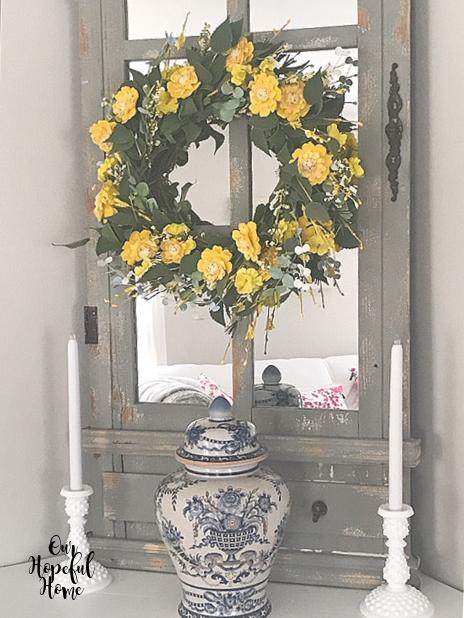 yellow flowers wreath chinoisserie jar milk glass candlesticks