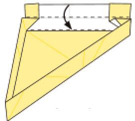 Bước 12: gấp cạnh giấy vào trong, xuống dưới