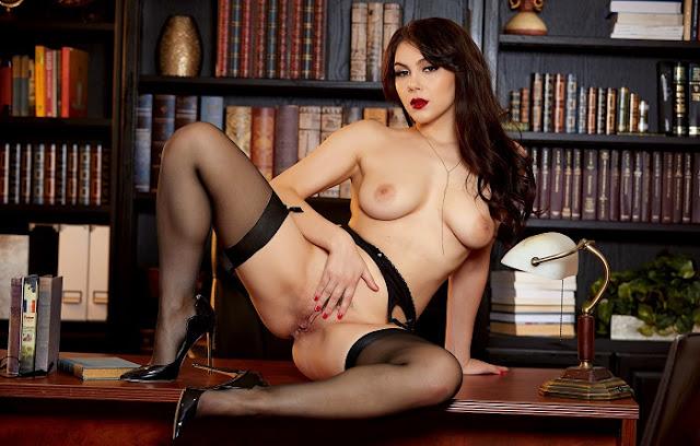 Valentina Nappi fingering pussy naked black stockings