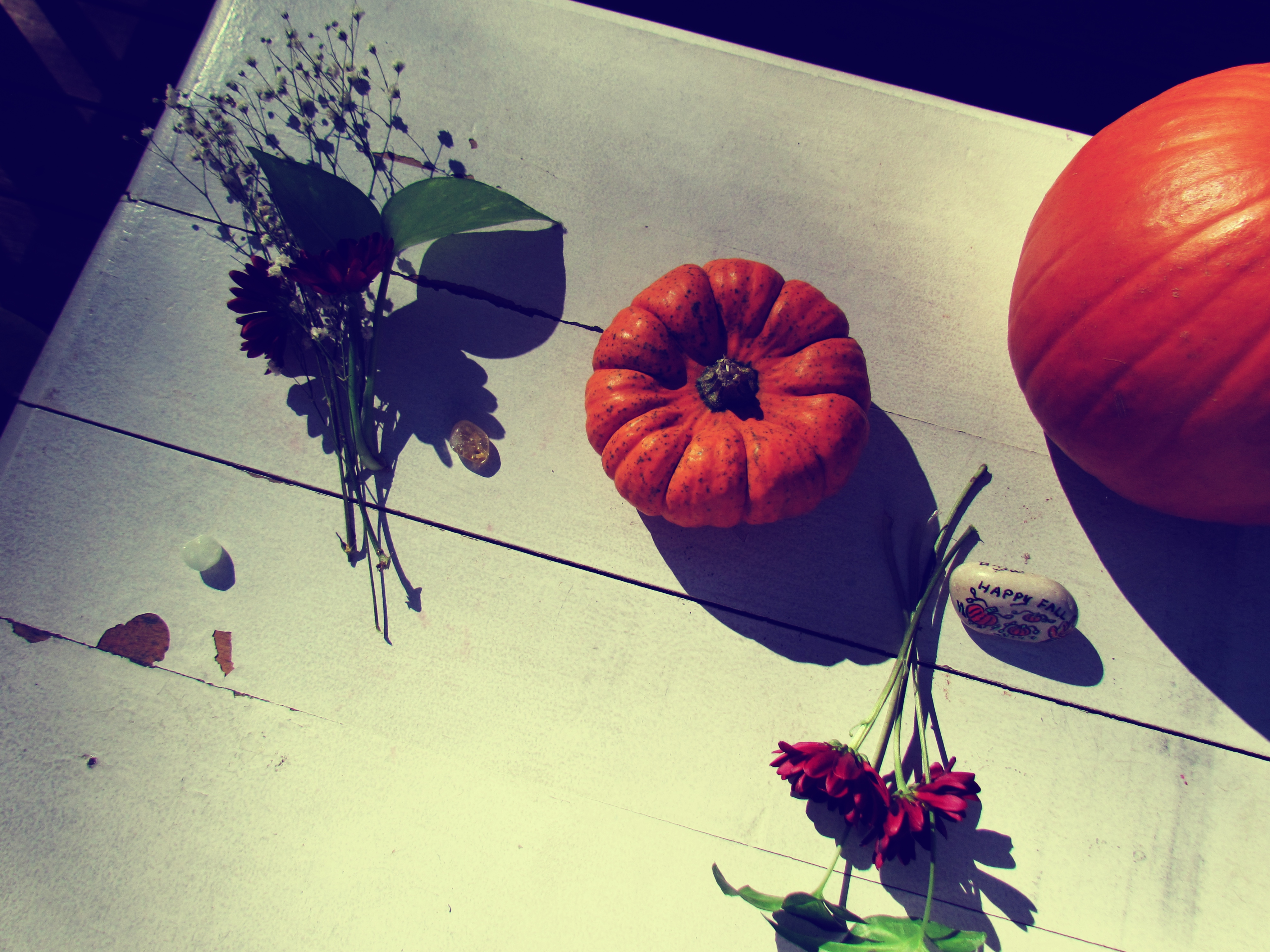 An adorable Thanksgiving Outdoor Dining Table Display With Pumpkins, Gemstones, and Tiny Trinkets