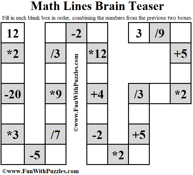 It is Math Lines Brain Teaser in which one has to fill the blank boxes combining two previous boxes.