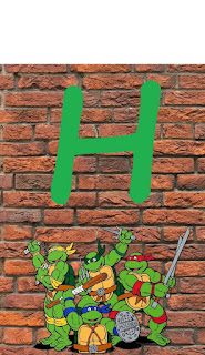 Banderines para Fiesta de las Tortugas Ninja. TMNT Birthday Flags.