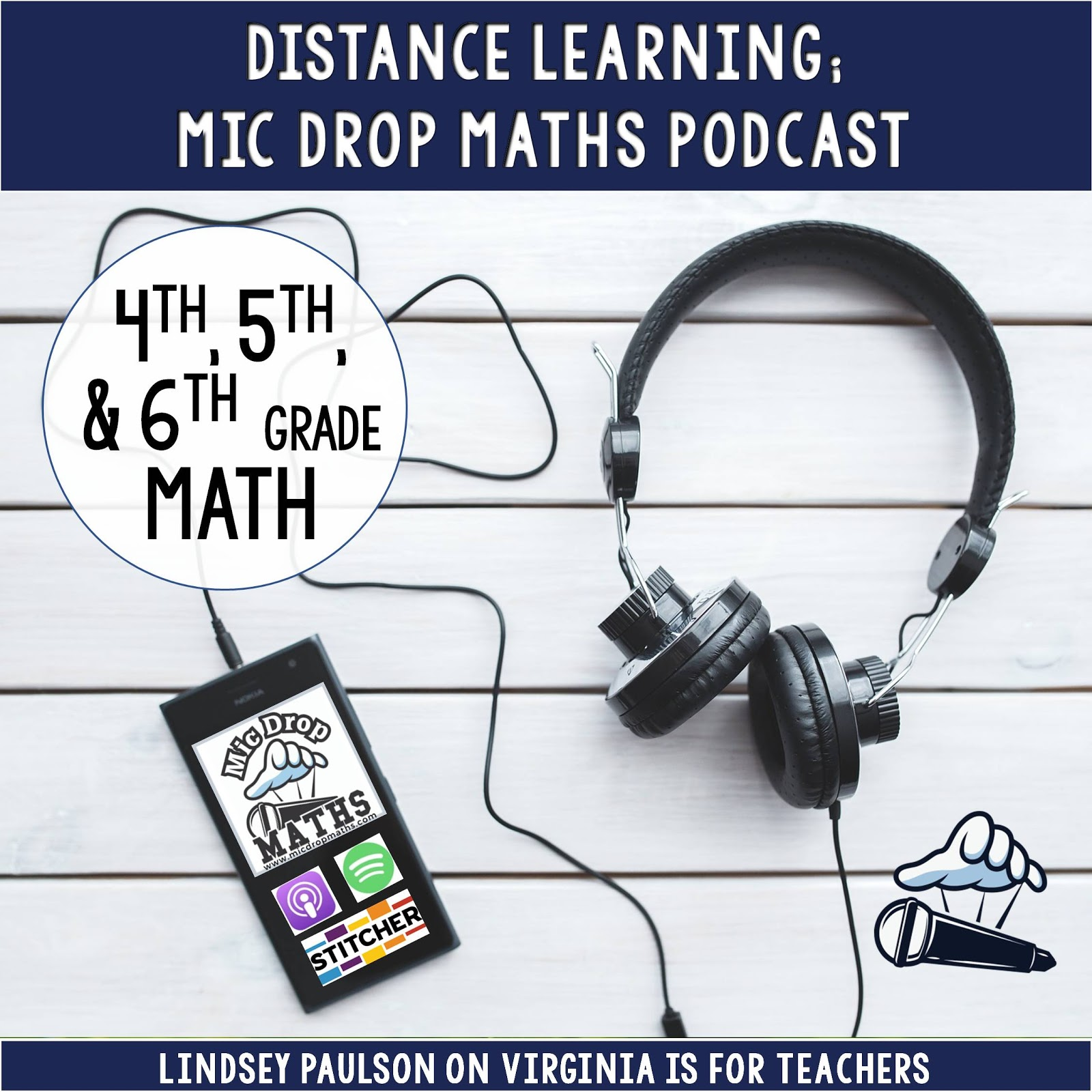 Check out the Mic Drop Maths podcast for kids for distance learning with quality math instruction for 4th-6th grades. Find the podcast on Apple, Stitcher, Spotifiy, or www.micdropmaths.com