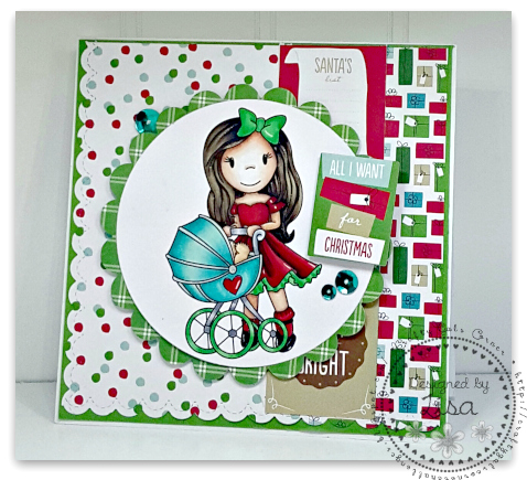 All I Want For Christmas created In the Crafting Cave with Lisa using Paper Nest Doll Strolling with Teddy