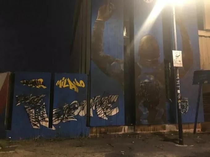 Inter fans DEFACE Lukaku mural outside San Siro ahead of his £98m Chelsea move