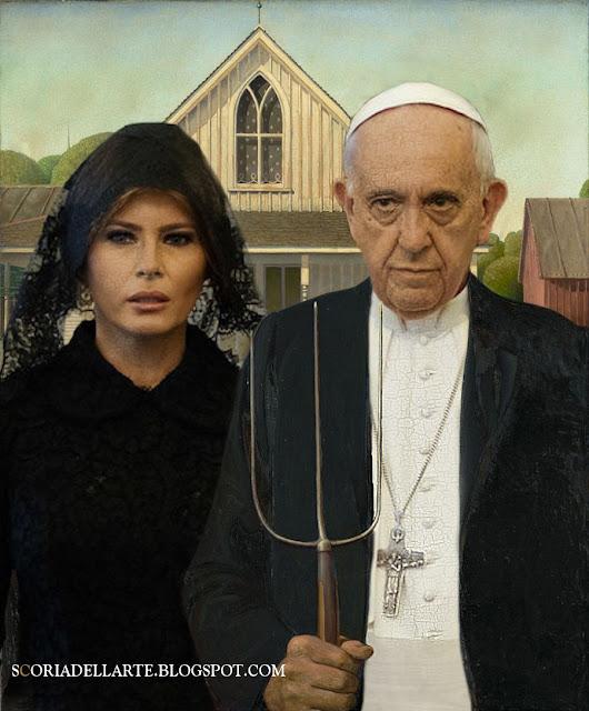 American Gothic - Grant Wood- MelaniaTrump e Papa Francesco