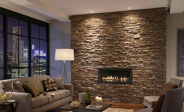 AMAZING INTERIOR LIVING ROOM WITH STONE WALLS
