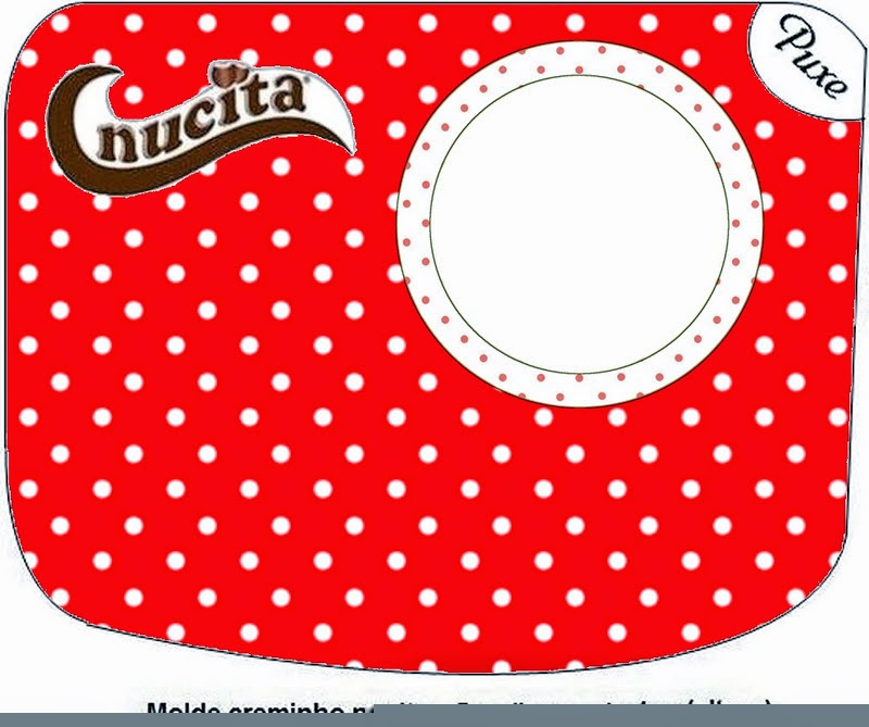 Red and White Polka Dots Free Printable Nucita Candy Bar Labels.